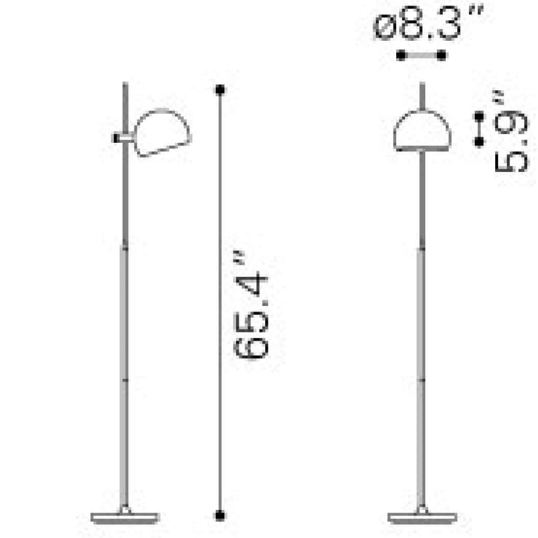 Office floor lamps dimensions view
