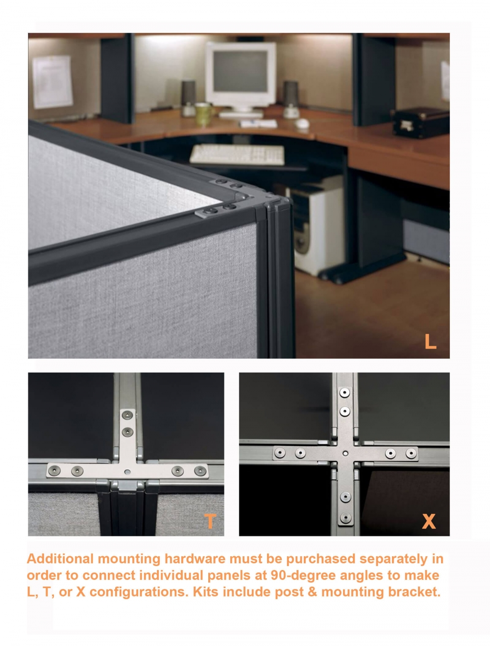 Office partition walls connectors gray