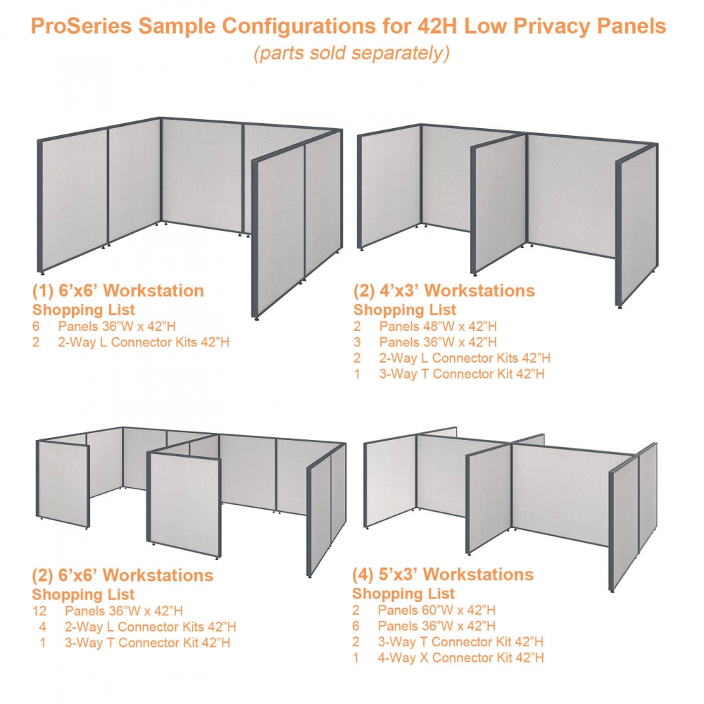 Office partition walls sample configurations 42h gray