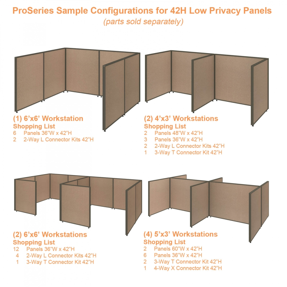 Office partition walls sample configurations 42h tan