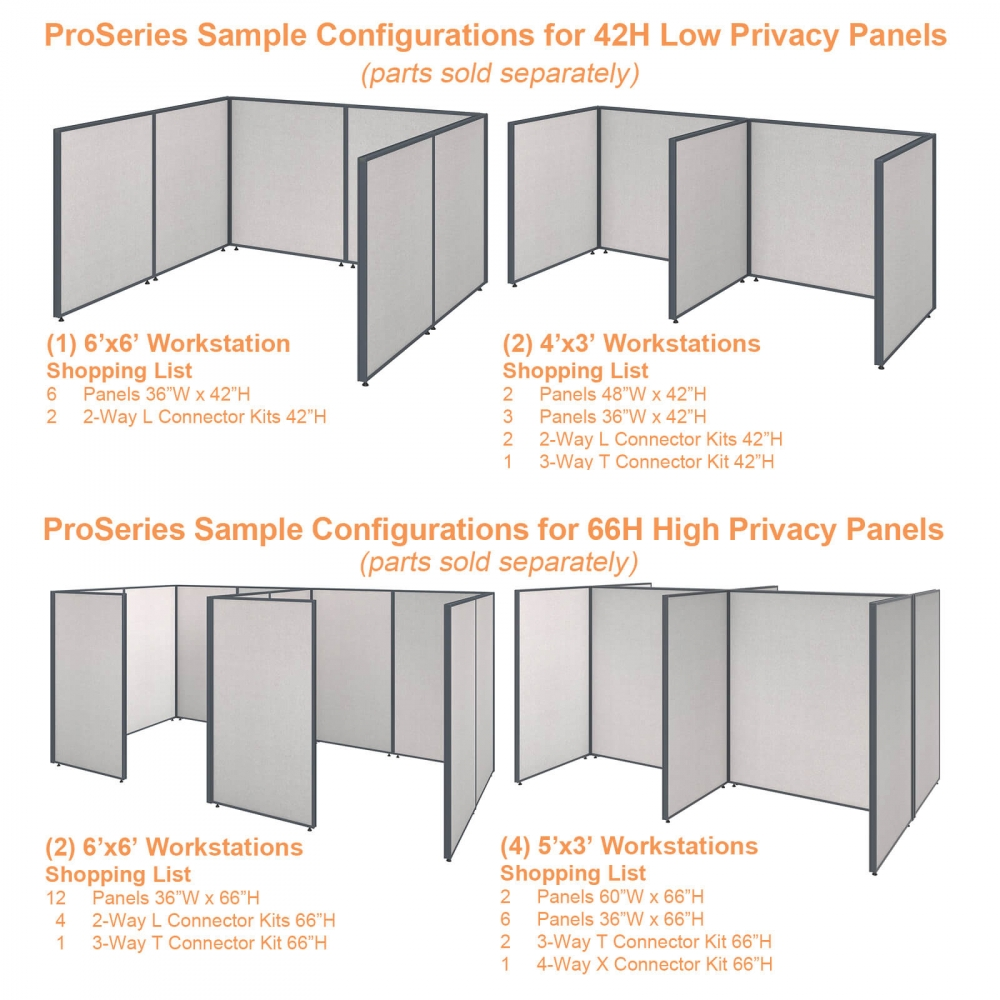 Office partition walls sample configurations combo gray