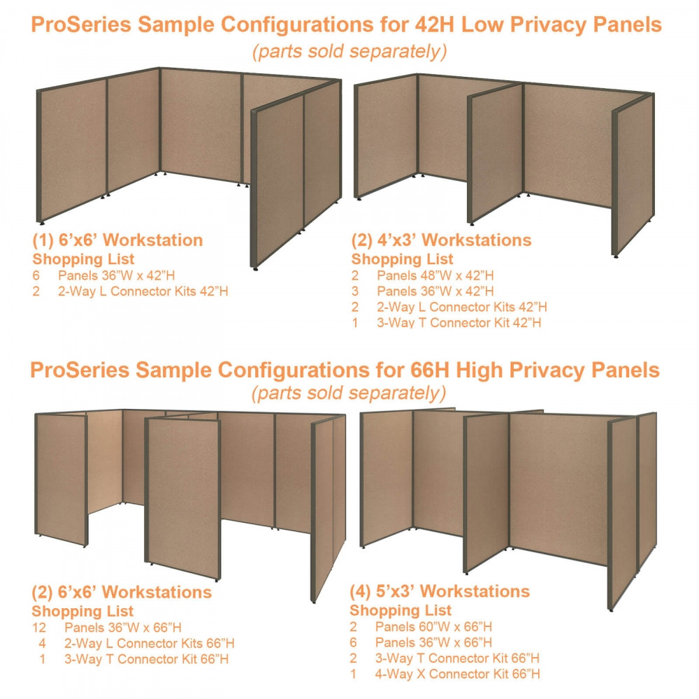 Office partition walls sample configurations combo tan