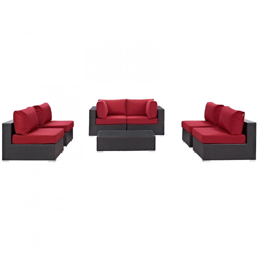 Outdoor lounge furniture CUB EEI 2164 EXP RED SET MOD