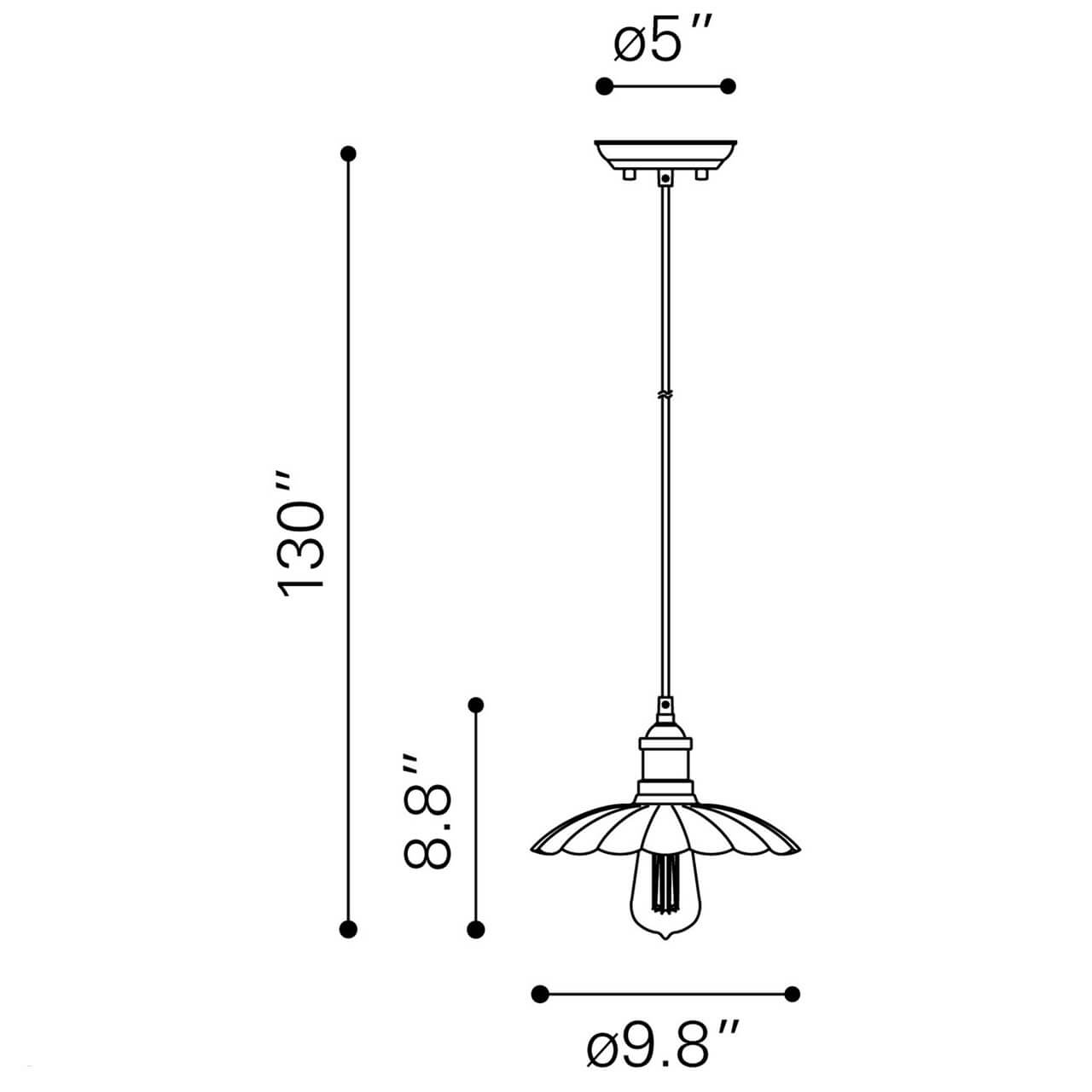 Outdoor pendant lighting dimensions view