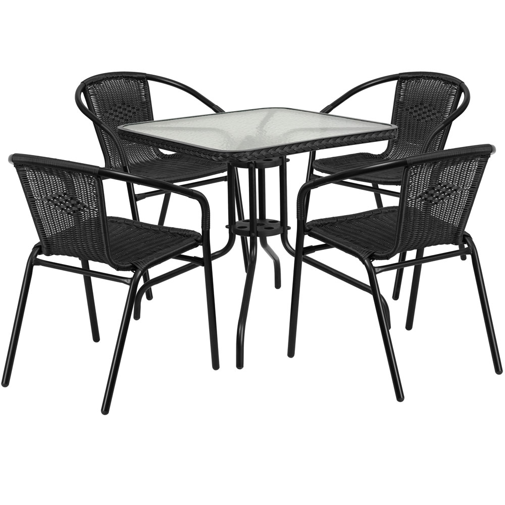 Outdoor table and chairs CUB TLH 073SQ 037BK4 GG FLA