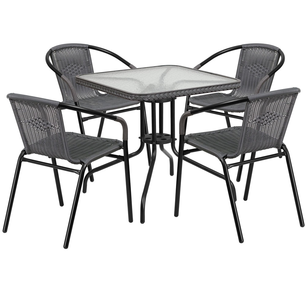 Outdoor table and chairs CUB TLH 073SQ 037GY4 GG FLA