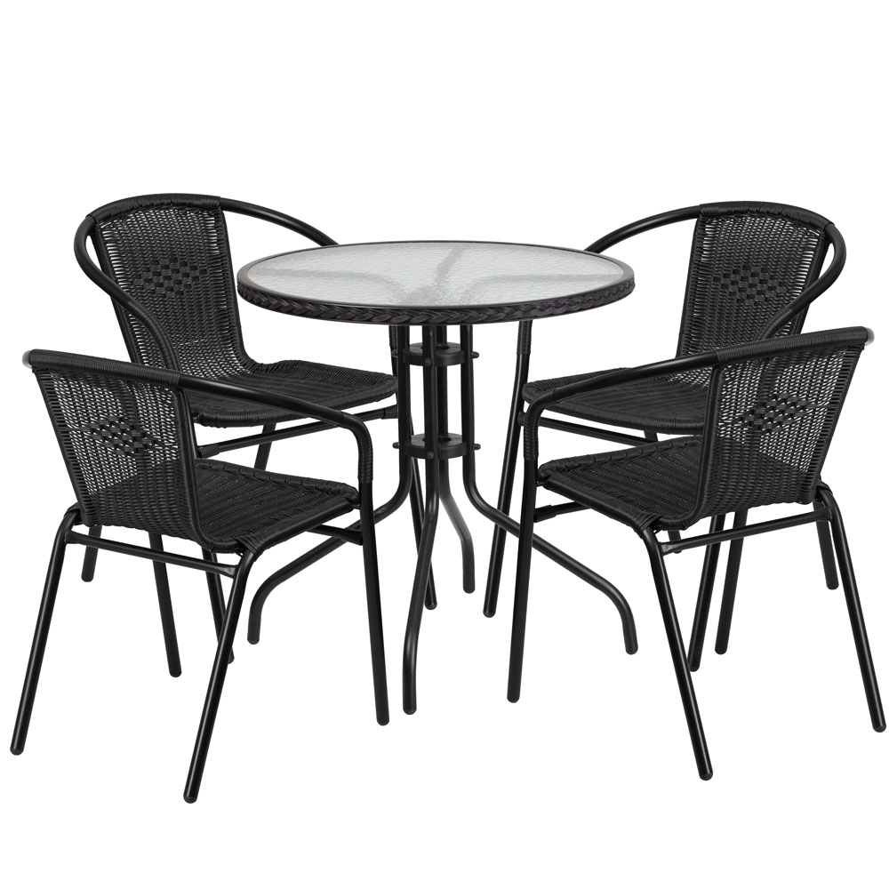 Outdoor table and chairs CUB TLH 087RD 037BK4 GG FLA