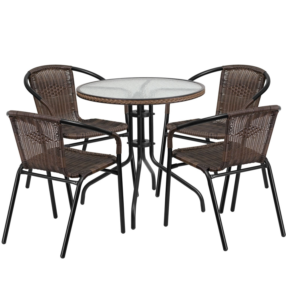 Outdoor table and chairs CUB TLH 087RD 037BN4 GG FLA
