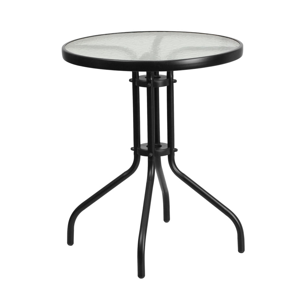 Monty 24 Inch Round Glass Top Dining Table