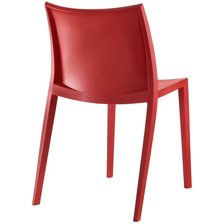 Plastic restaurant chair back view