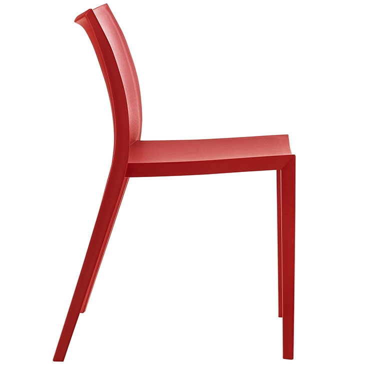 Plastic restaurant chair side view