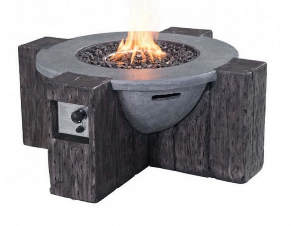 Propane stone fire pit side view