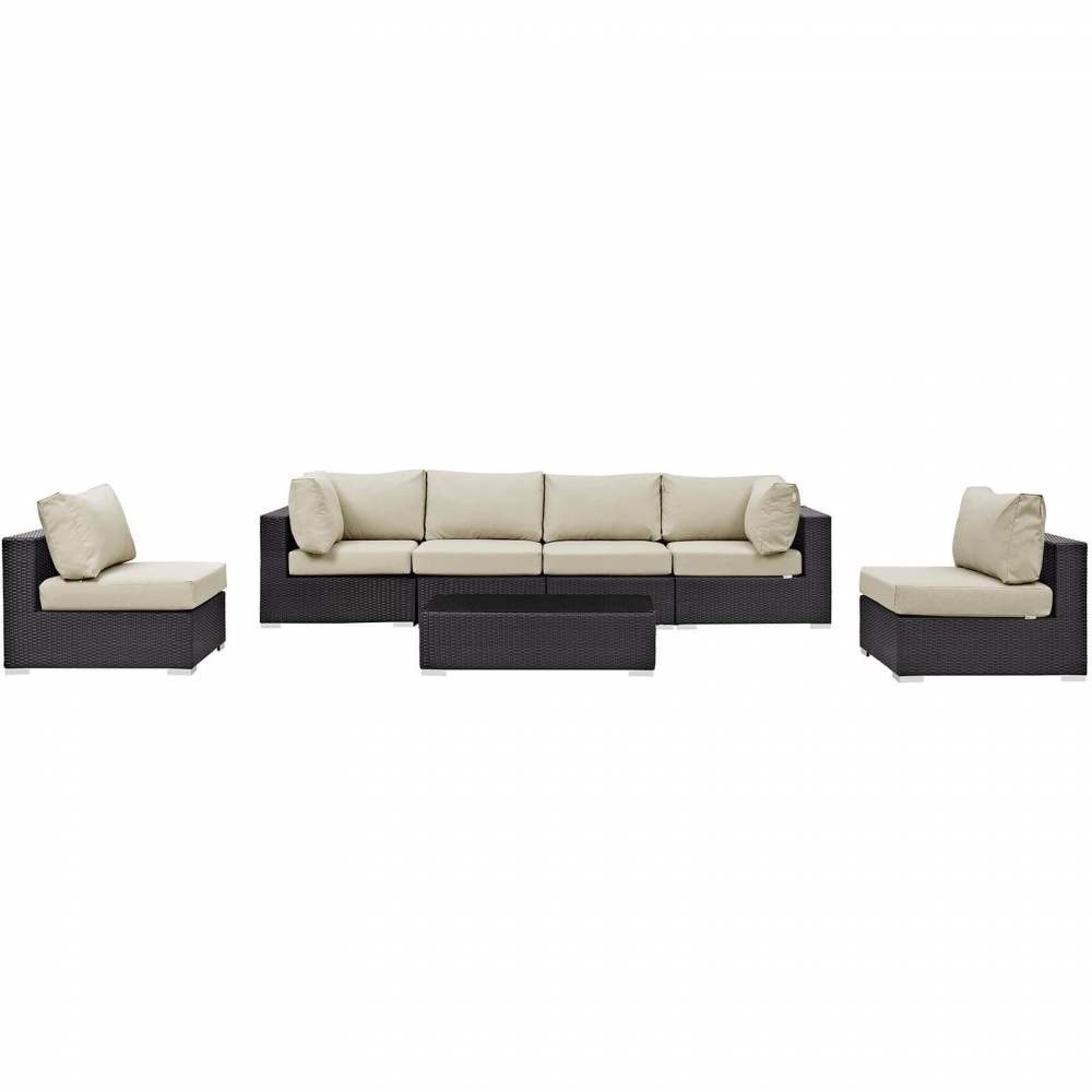 Rattan garden sofa sets front view