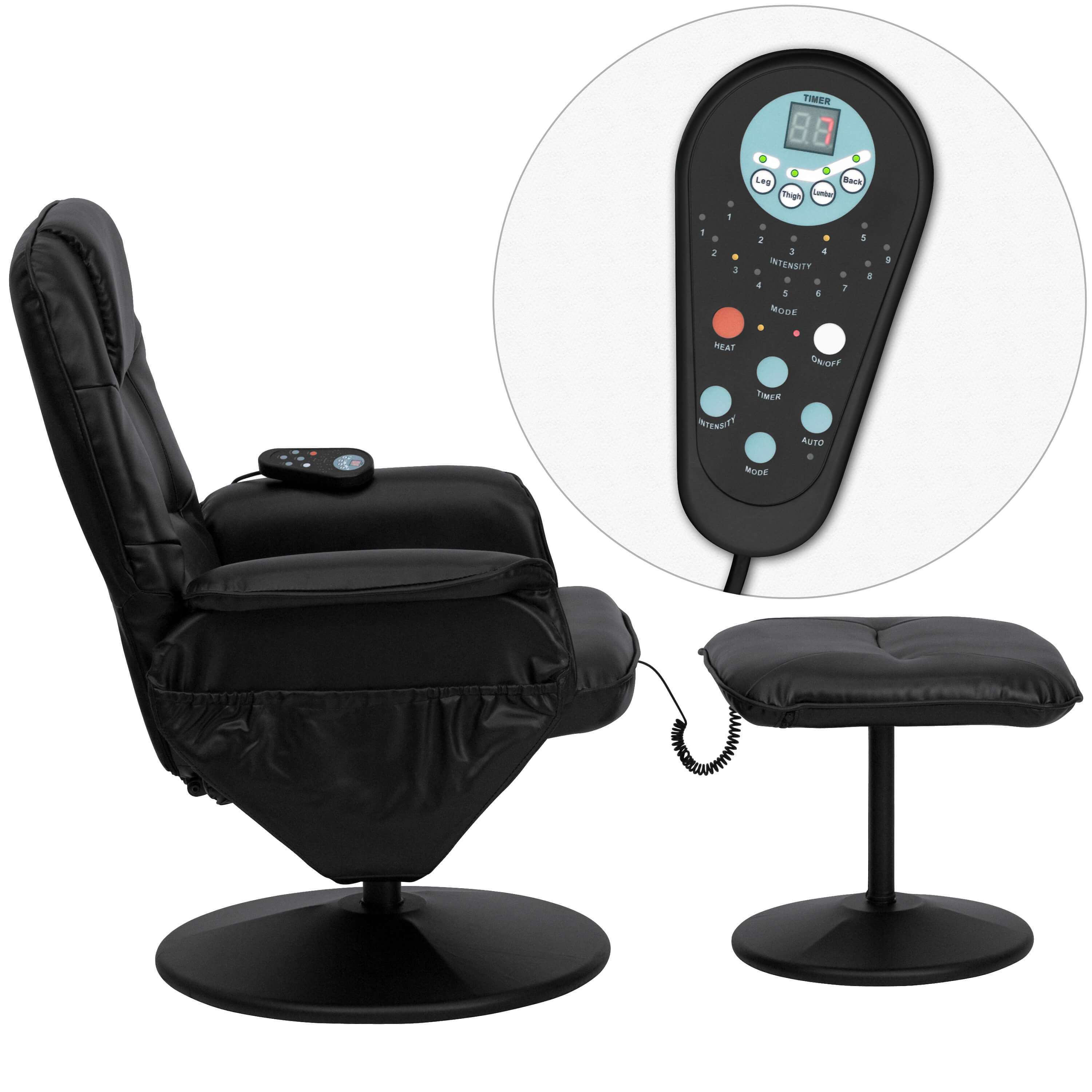 Recliner chair with massage remote view