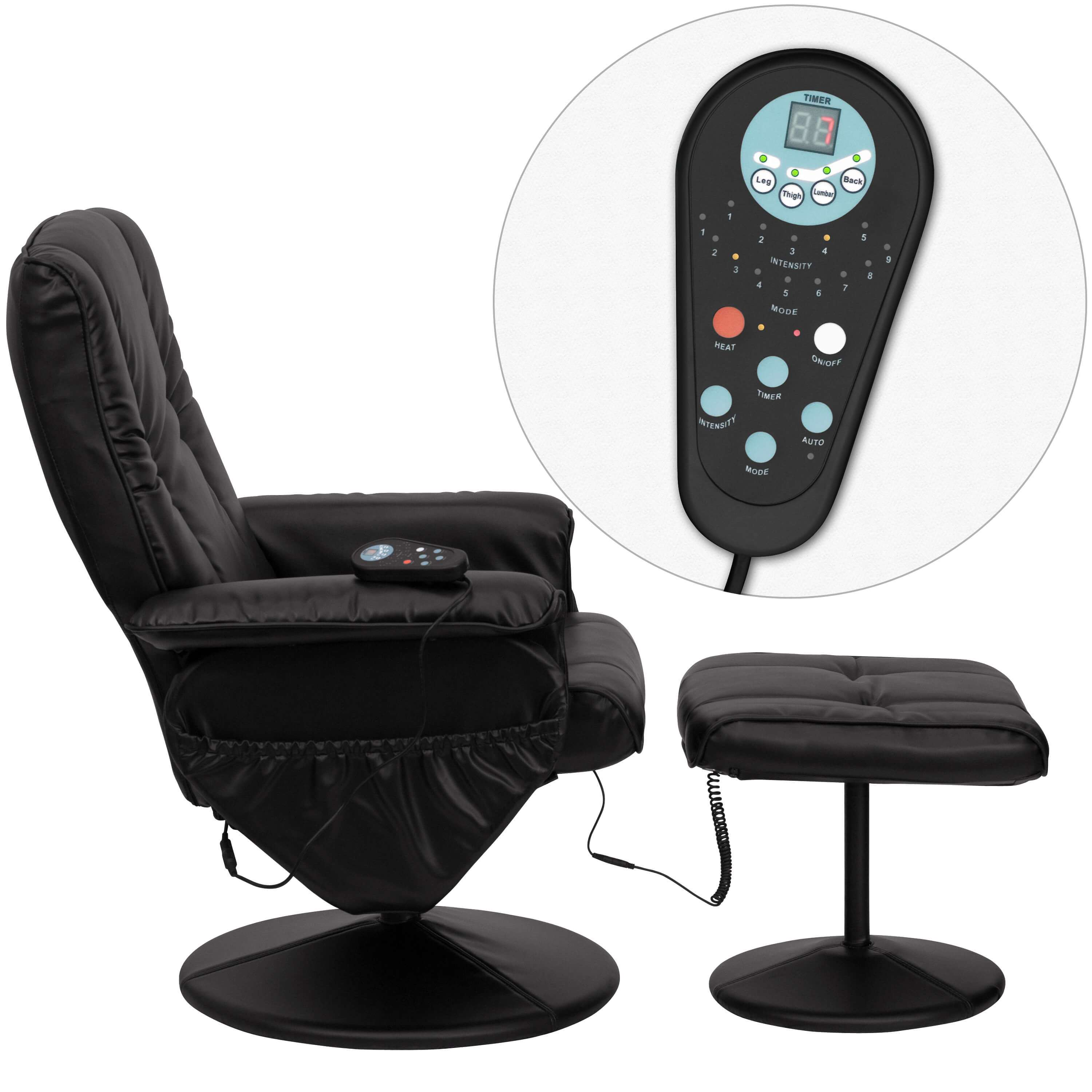 Recliner massage chair remote view