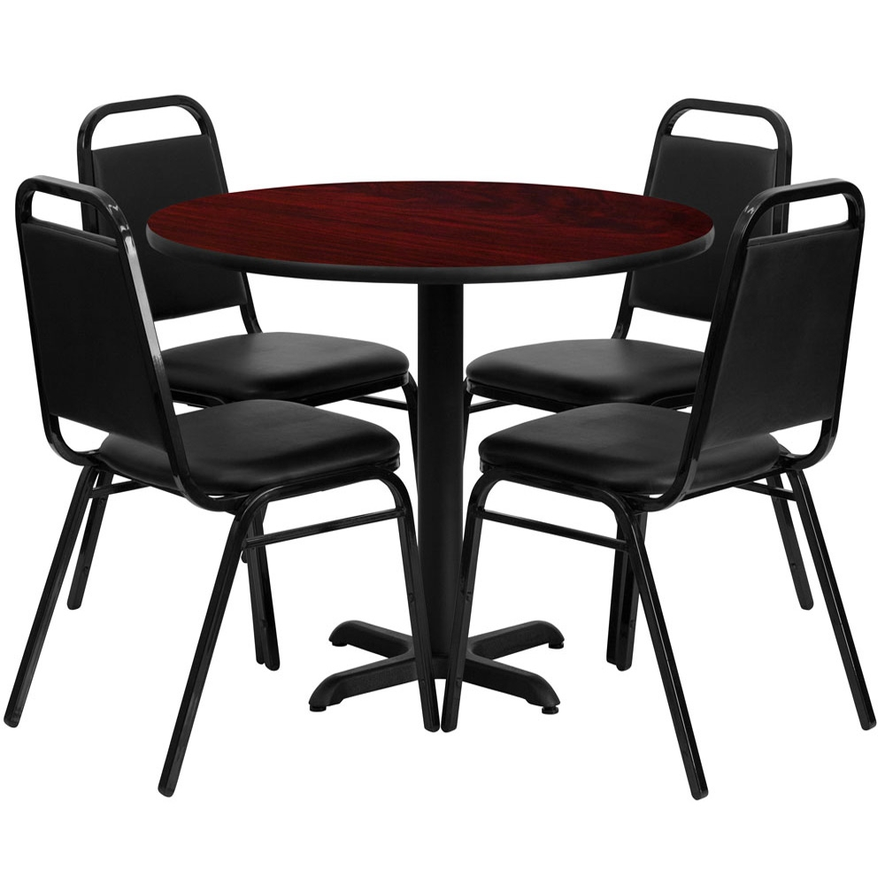 Cafe Bistro Dining Restaurant Table And Chair Set: Forli 36 Inch Round 4 Seater Dining Set