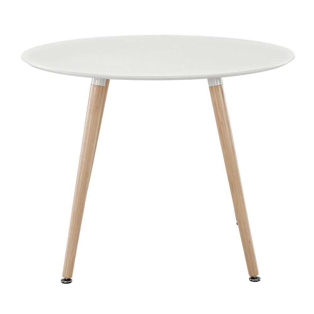 Round restaurant table side view