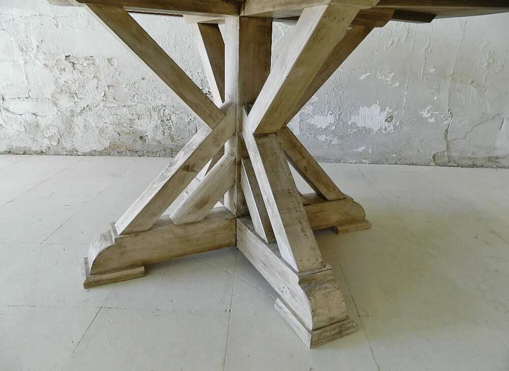 Round rustic dining table bottom view