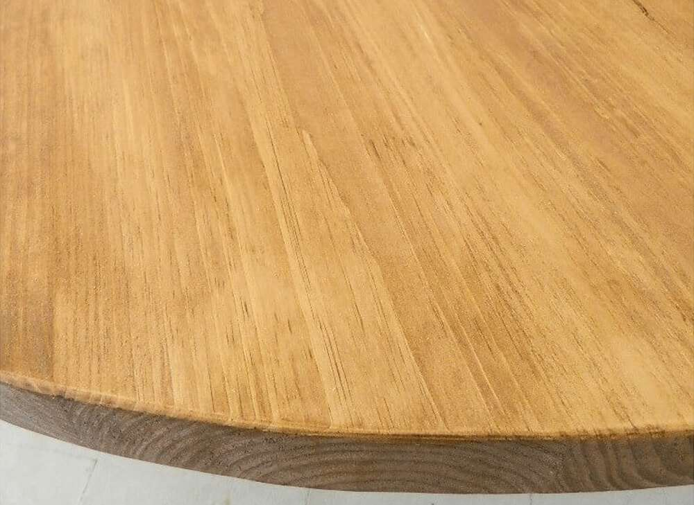 Round rustic dining table top view