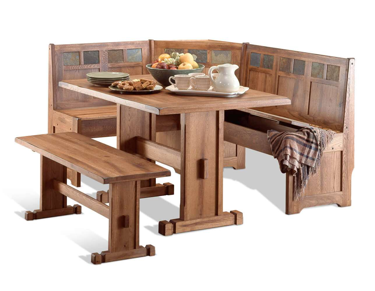Rustic dining table corner dining set