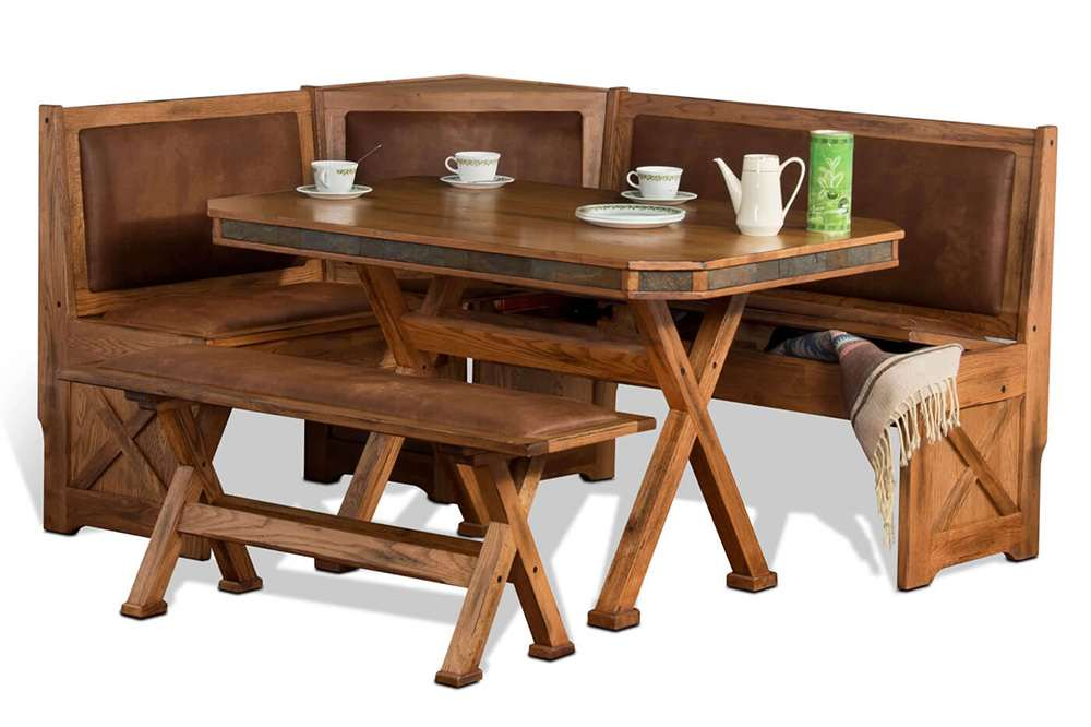 Rustic Dining Table Corner Nook Set