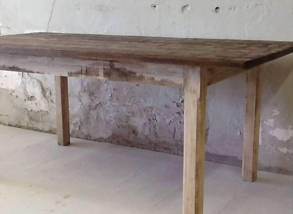 Rustic dinner table side view