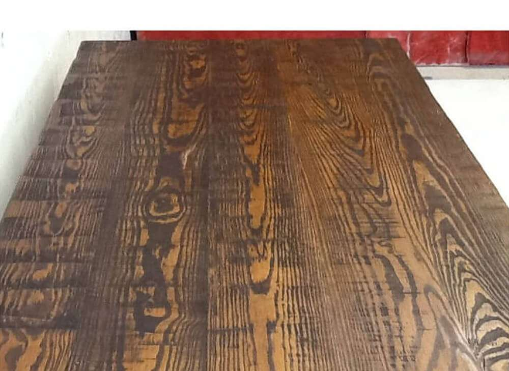Rustic dinner table top view