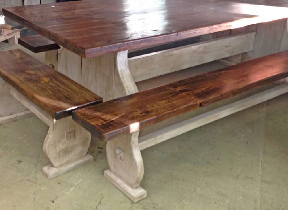 Rustic wood dining table front view