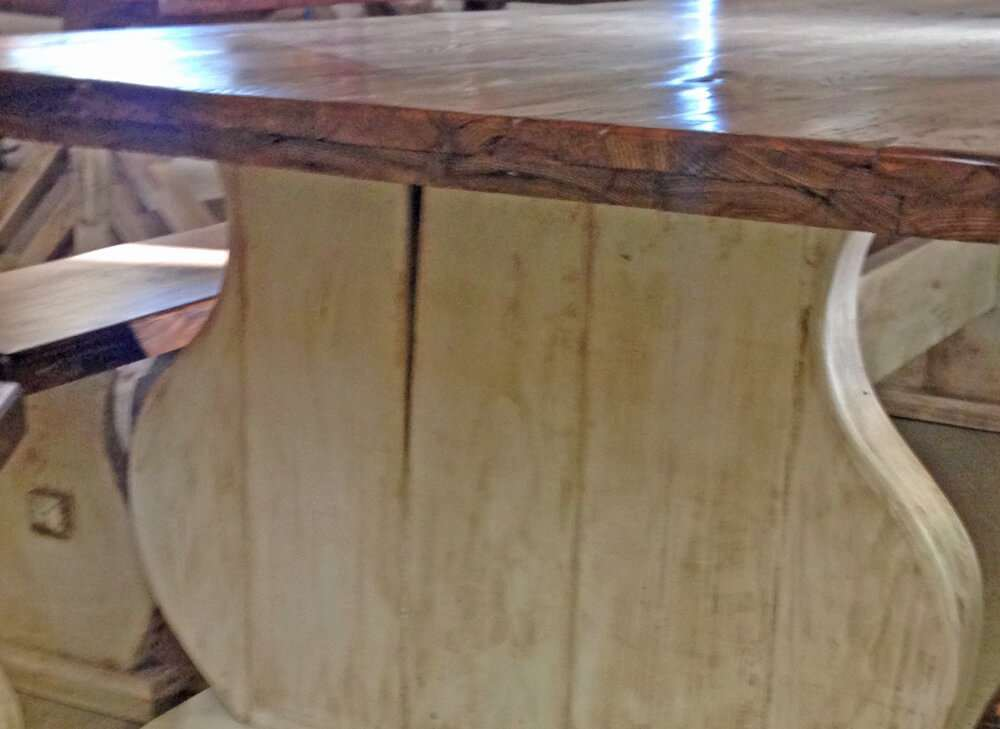 Rustic wood dining table side view