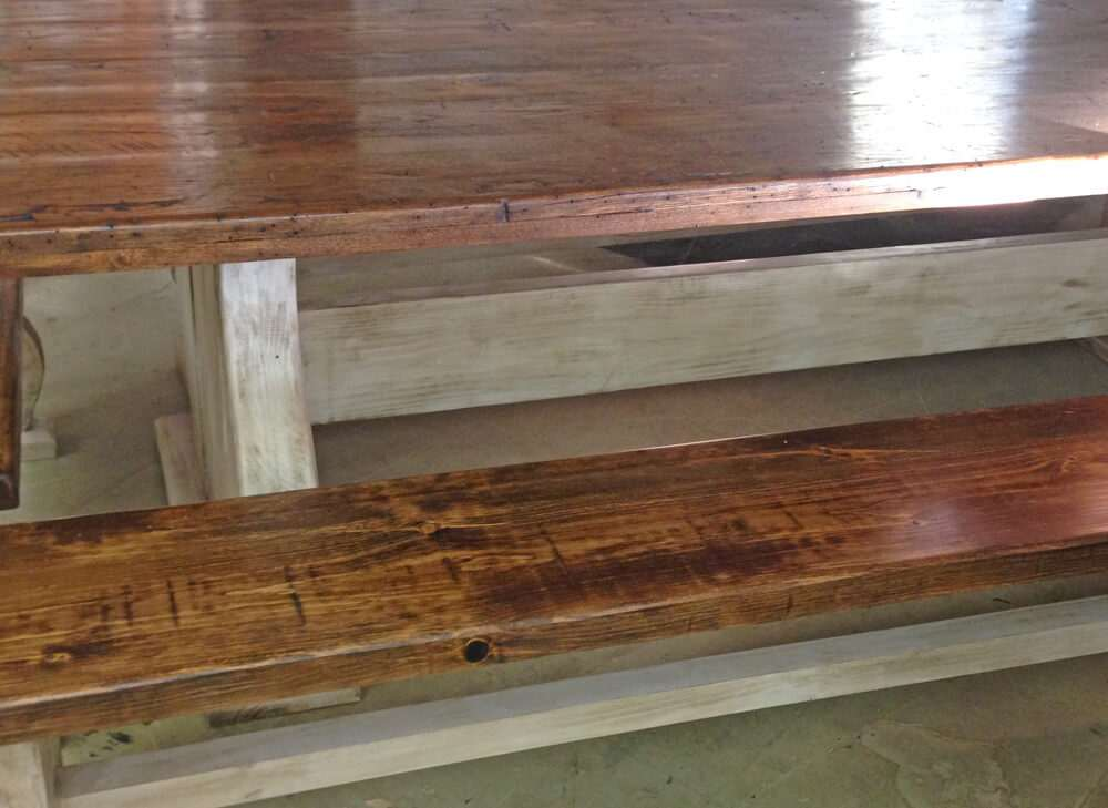 Rustic wood dining table zoom view