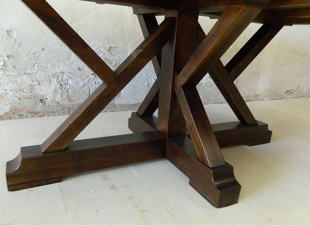 Rustic wood kitchen table bottom view