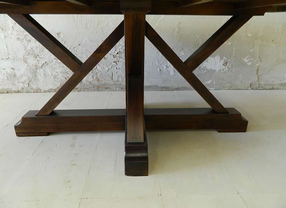 Rustic wood kitchen table front view