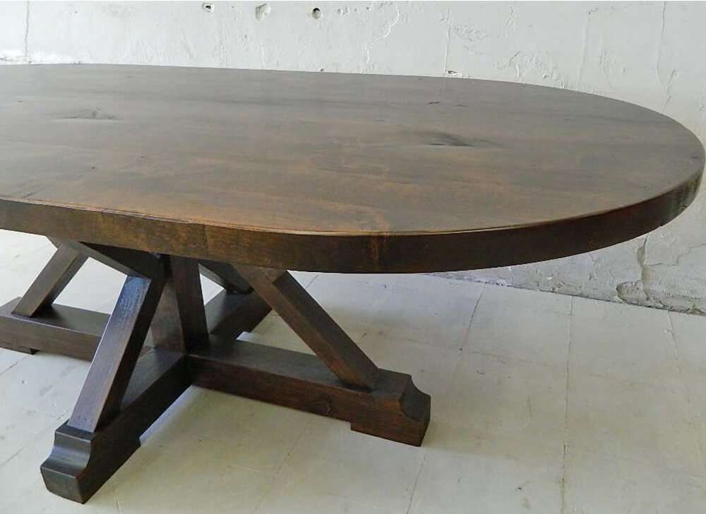 Rustic wood kitchen table side view