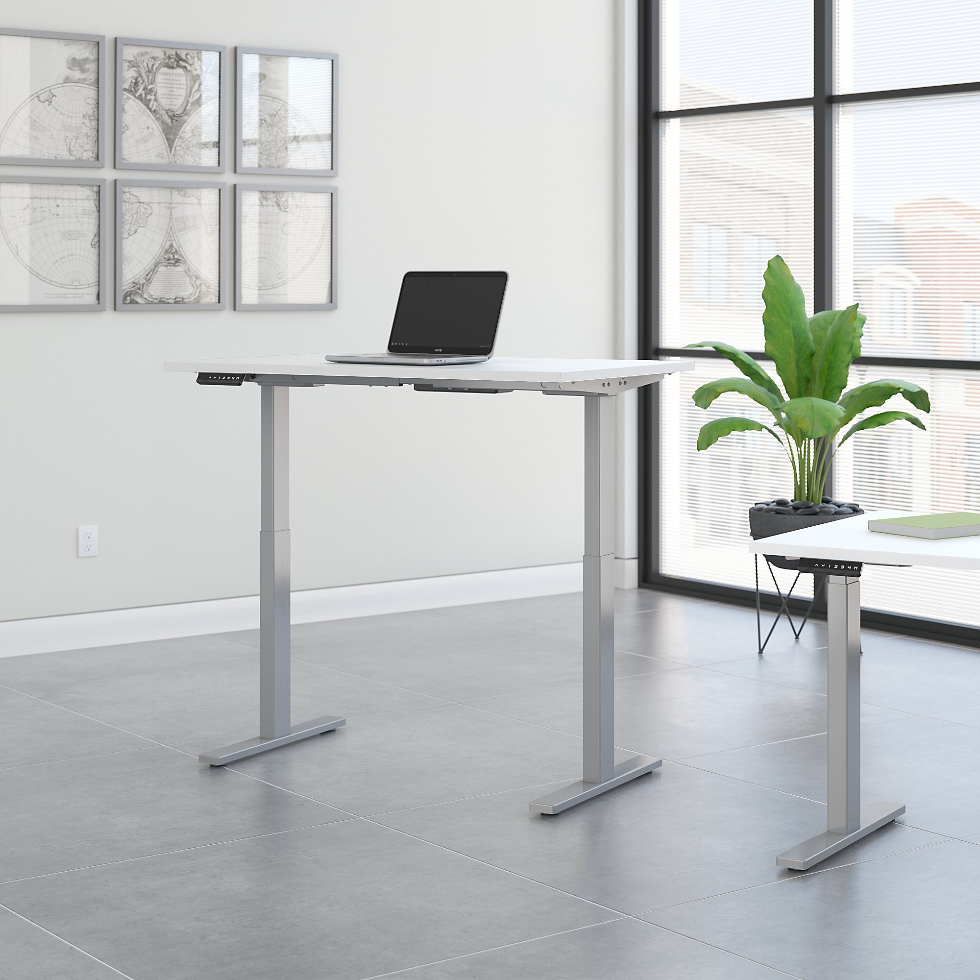 Sit stand desk converter dual monitor environmental