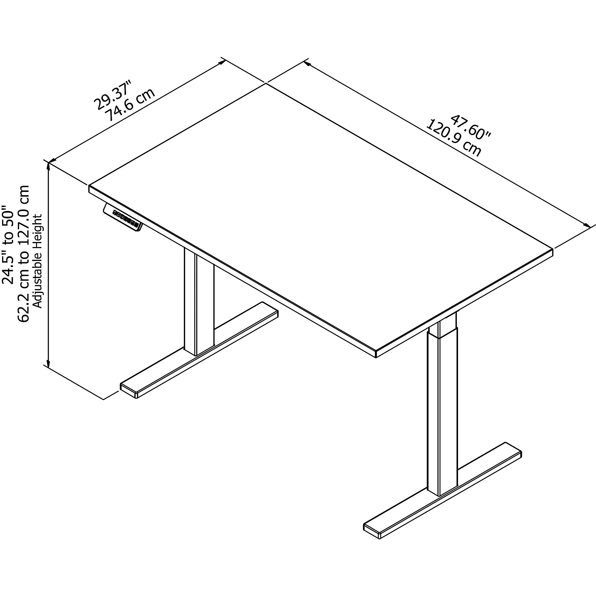 Sit stand desk converter dual monitor layout