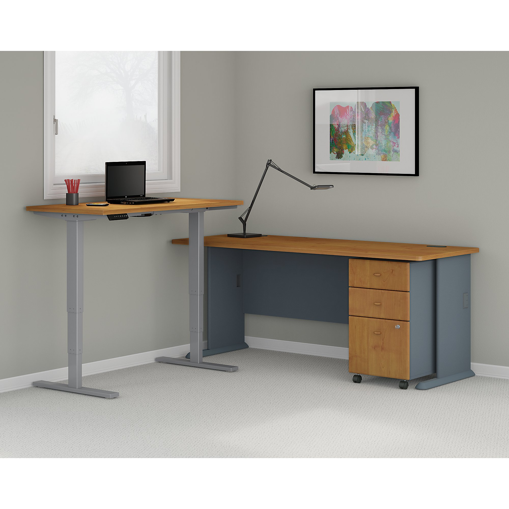 Sit stand desk corner environmental