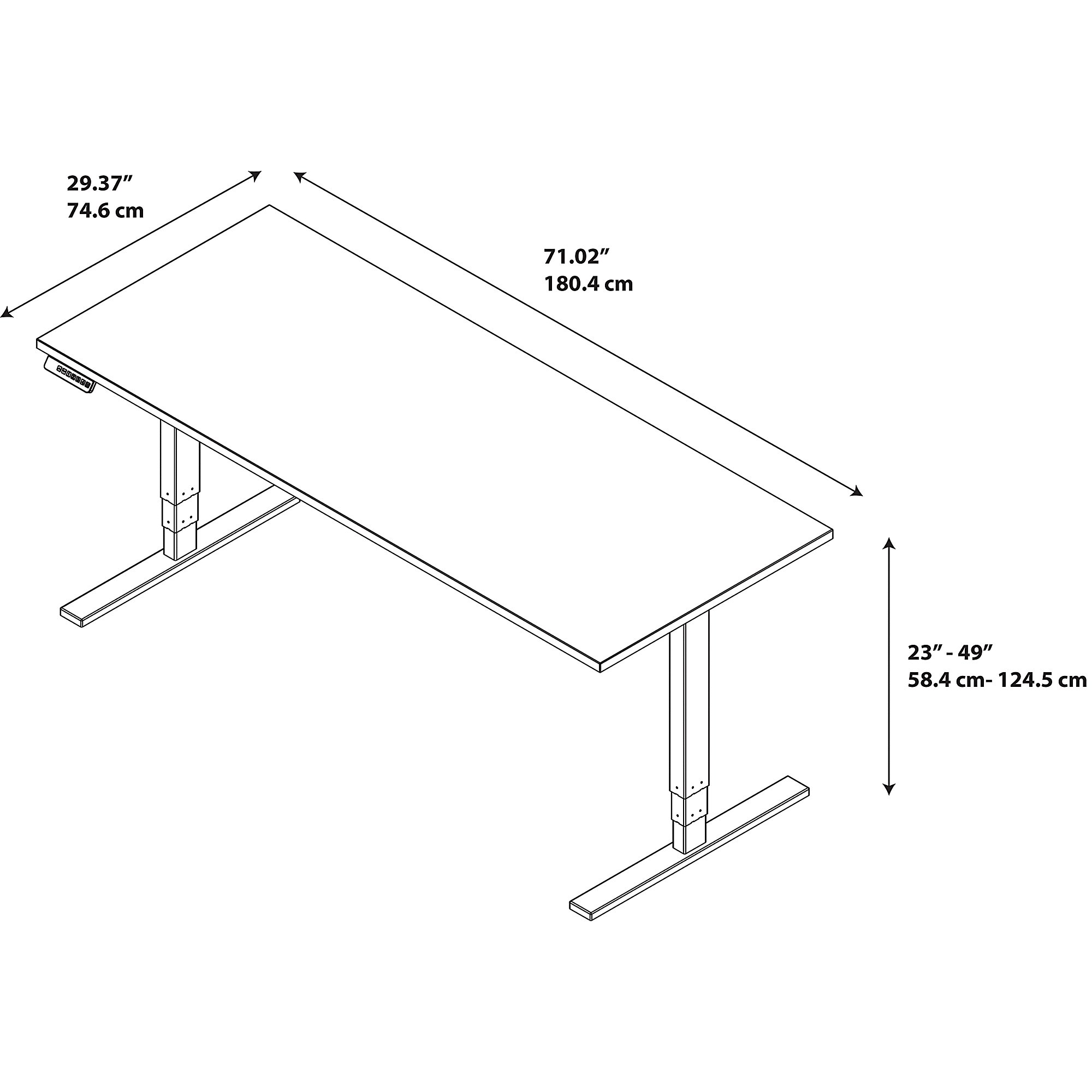 Sit stand desk corner layout