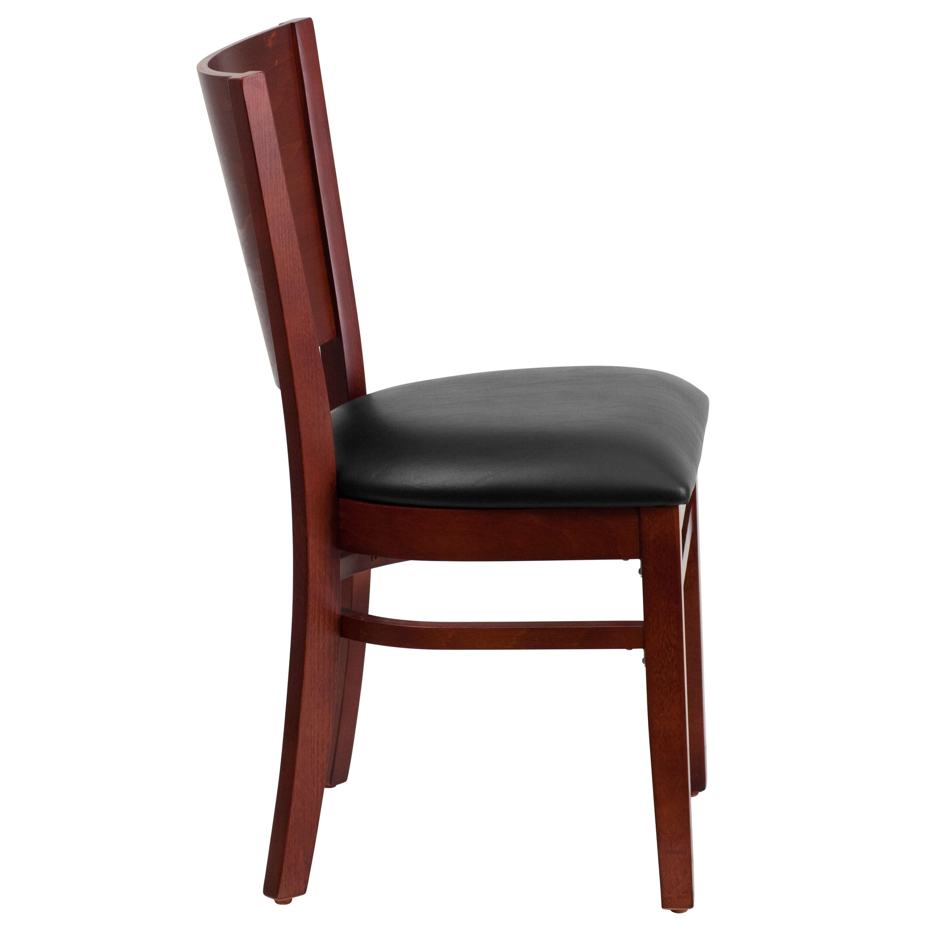 Solid wood dining chairs side view