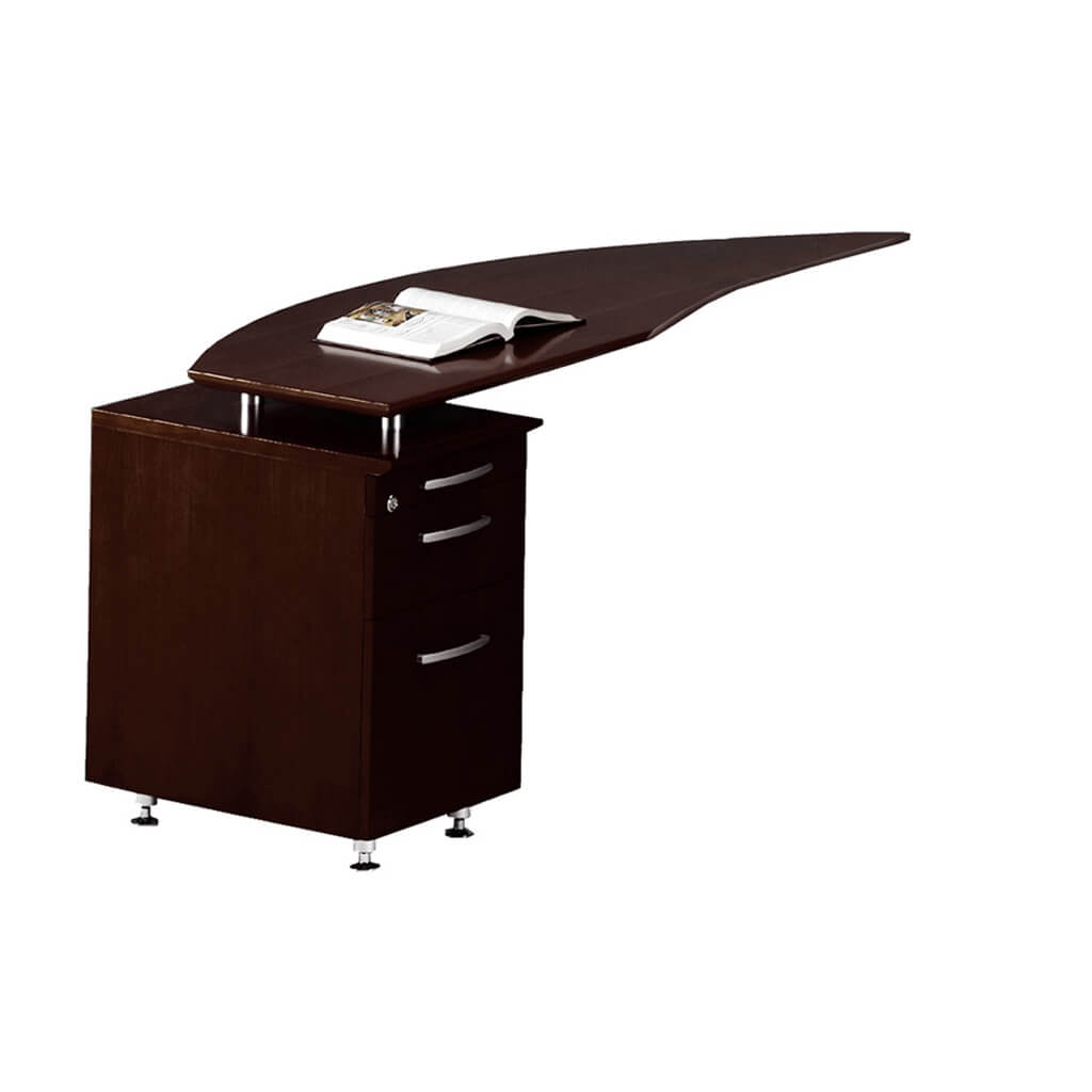 Solid wood office desk curved desk return right