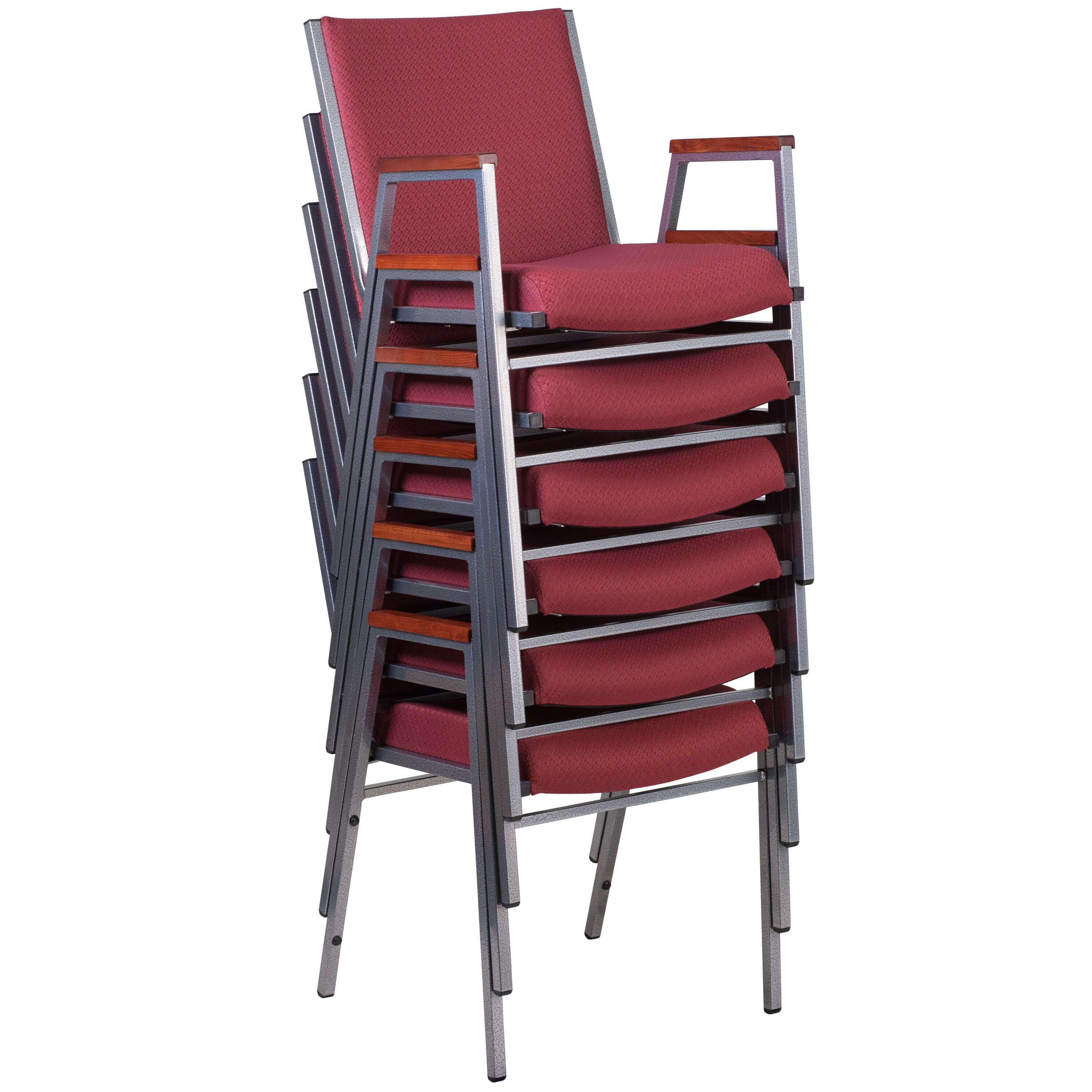 Stackable office chairs stacked
