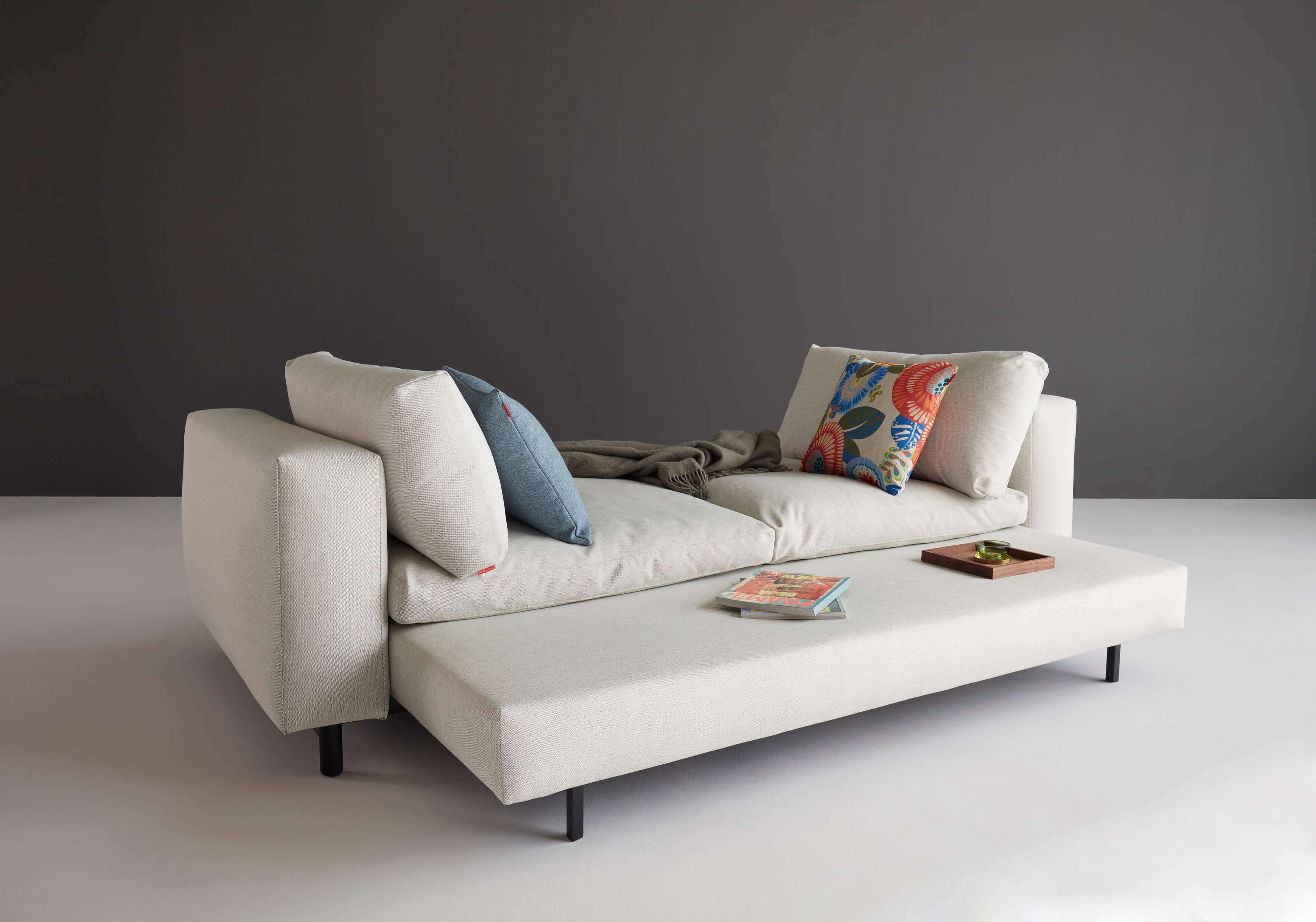 Trendy sofa bed unfolded view