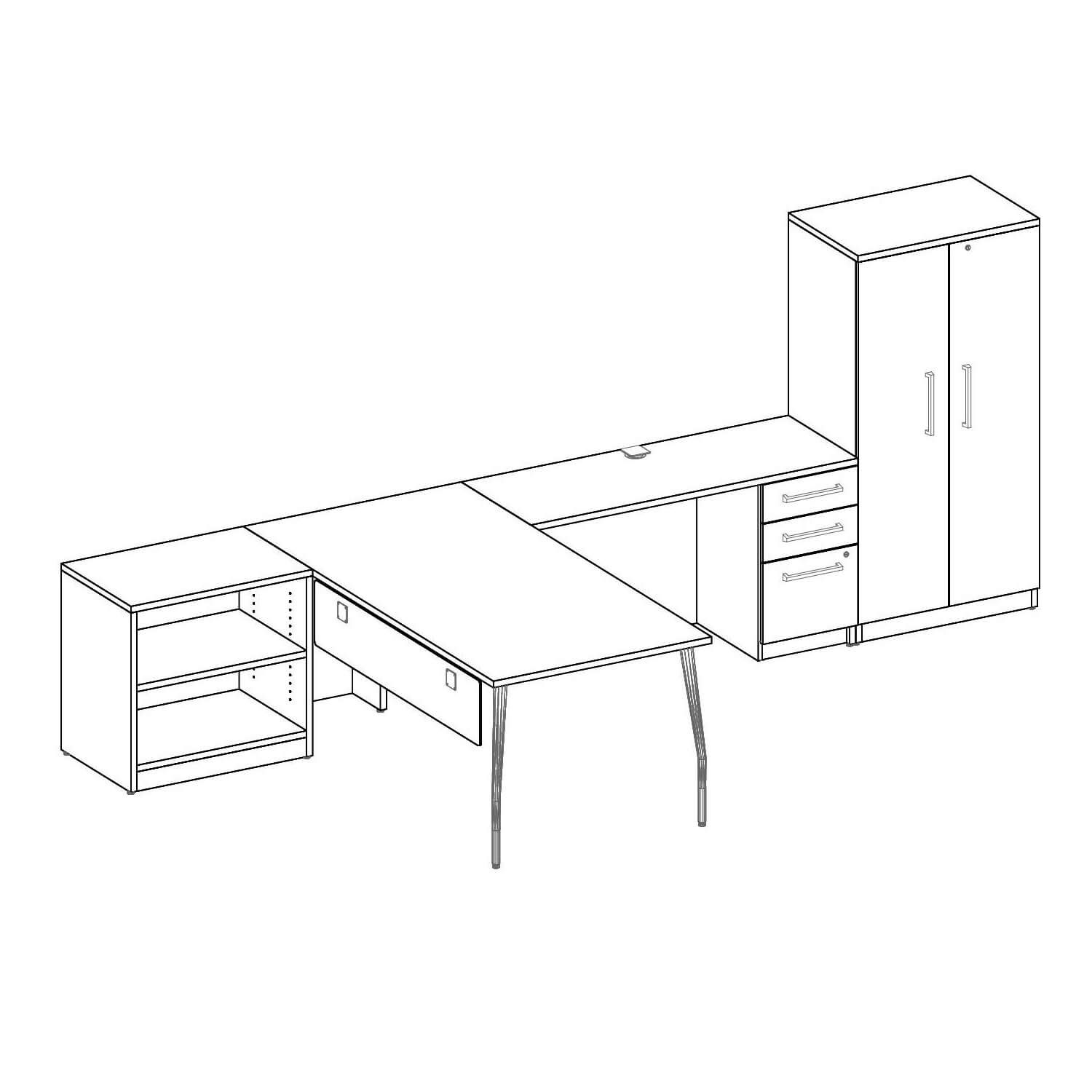 Unique office furniture layout 3d