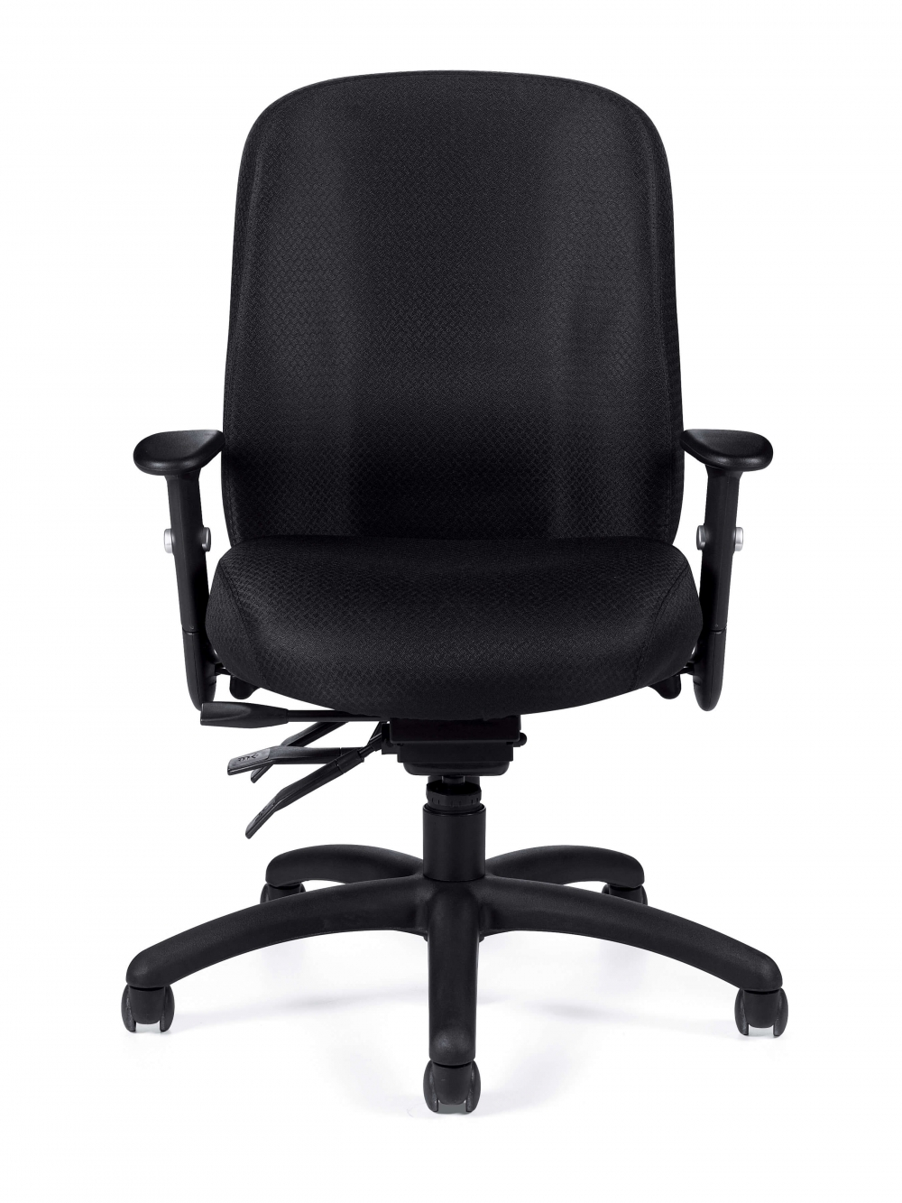 Upholstered desk chair front view