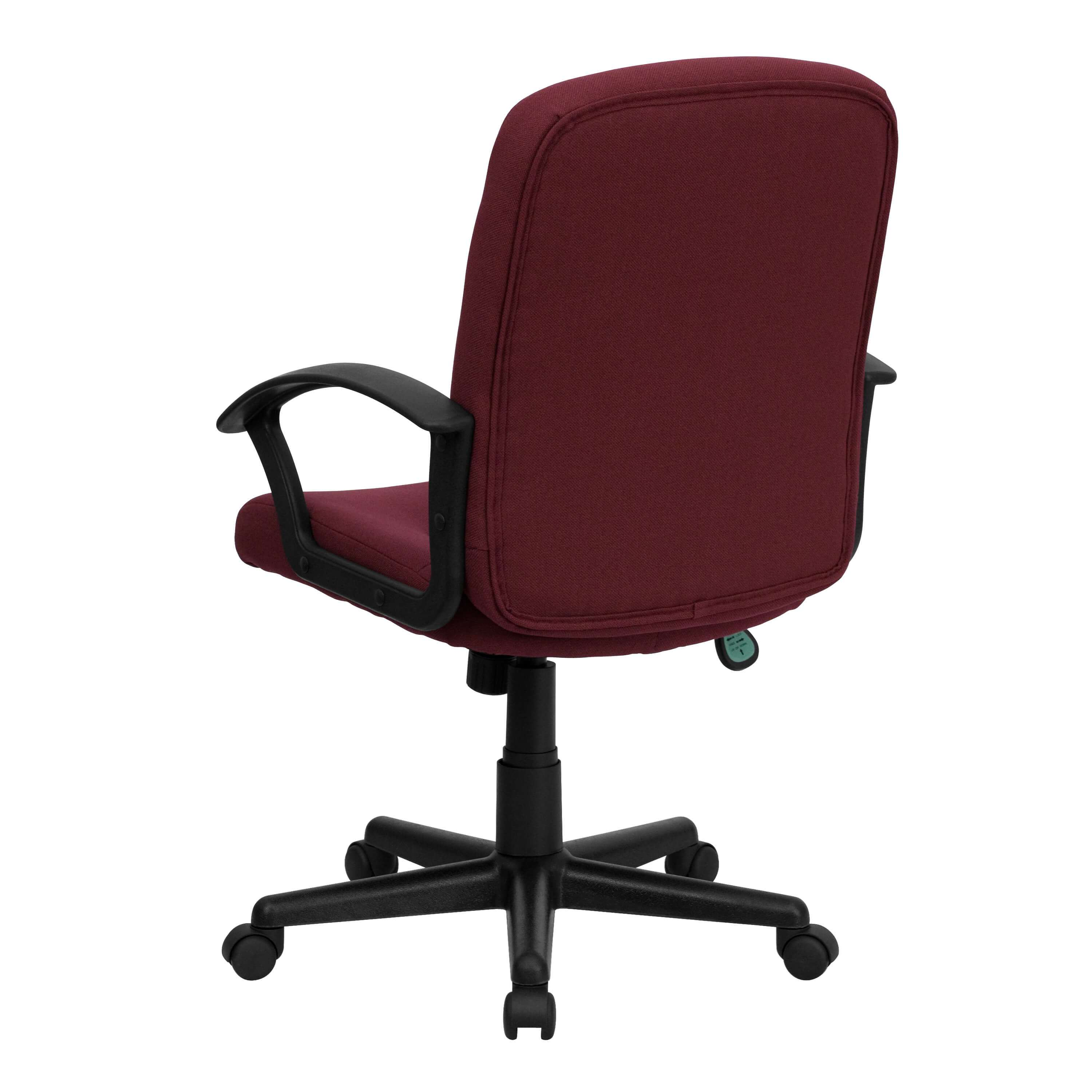 Upholstered desk chair rear view