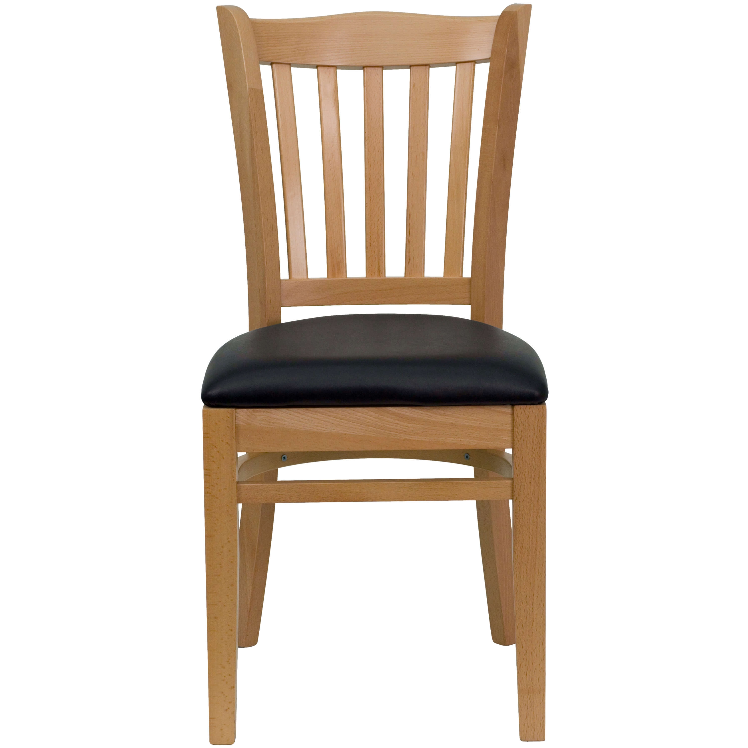 Vertical slat back chair front view