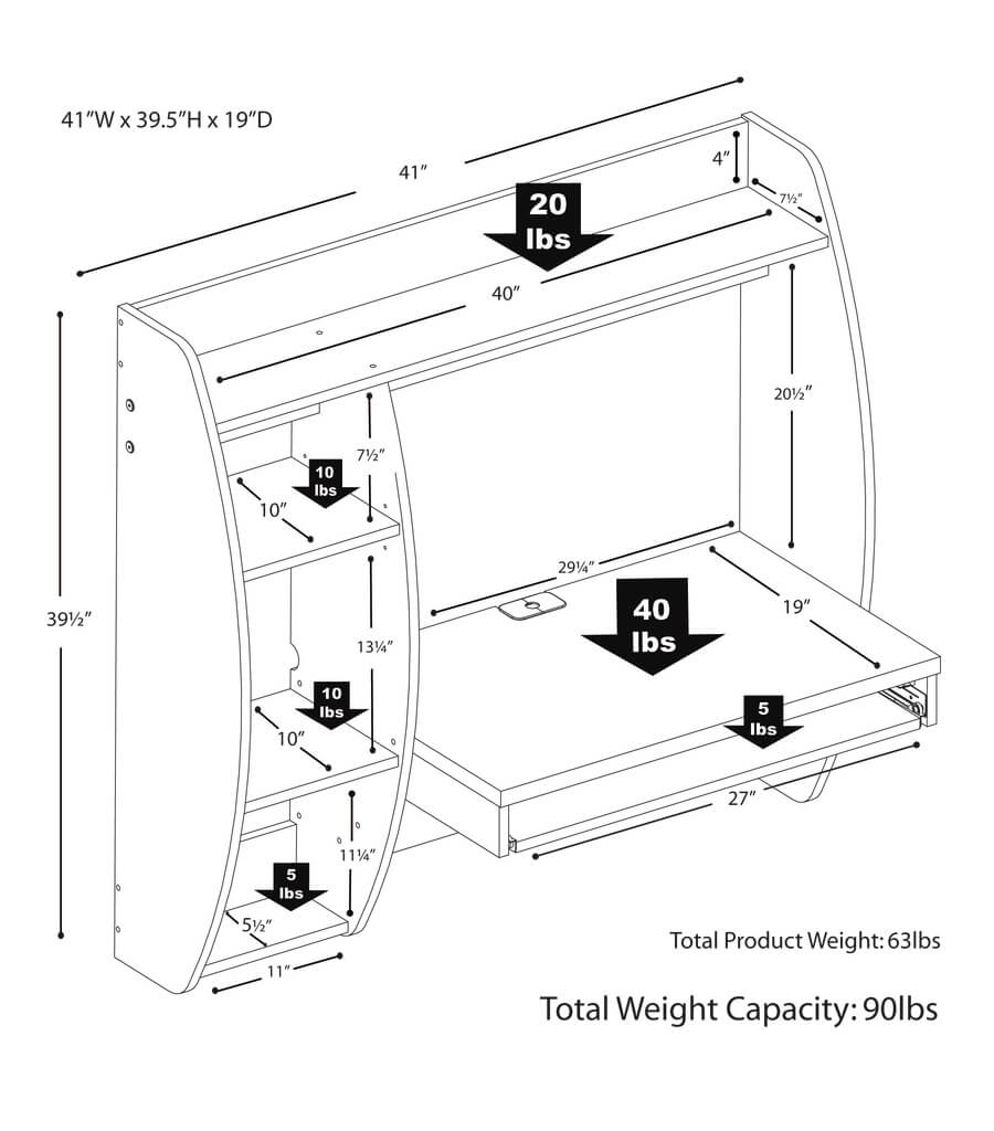 Wall mount laptop desk scheme