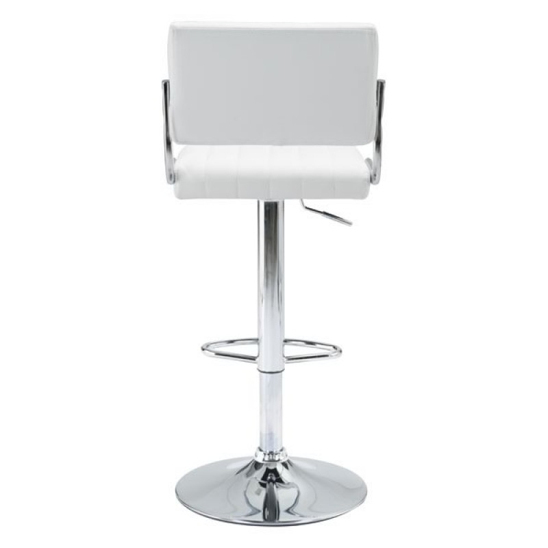 White or black bar stools with backs back view