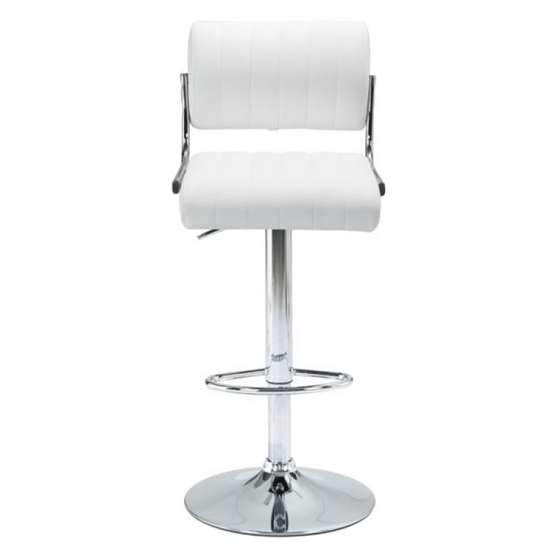 White or black bar stools with backs front view