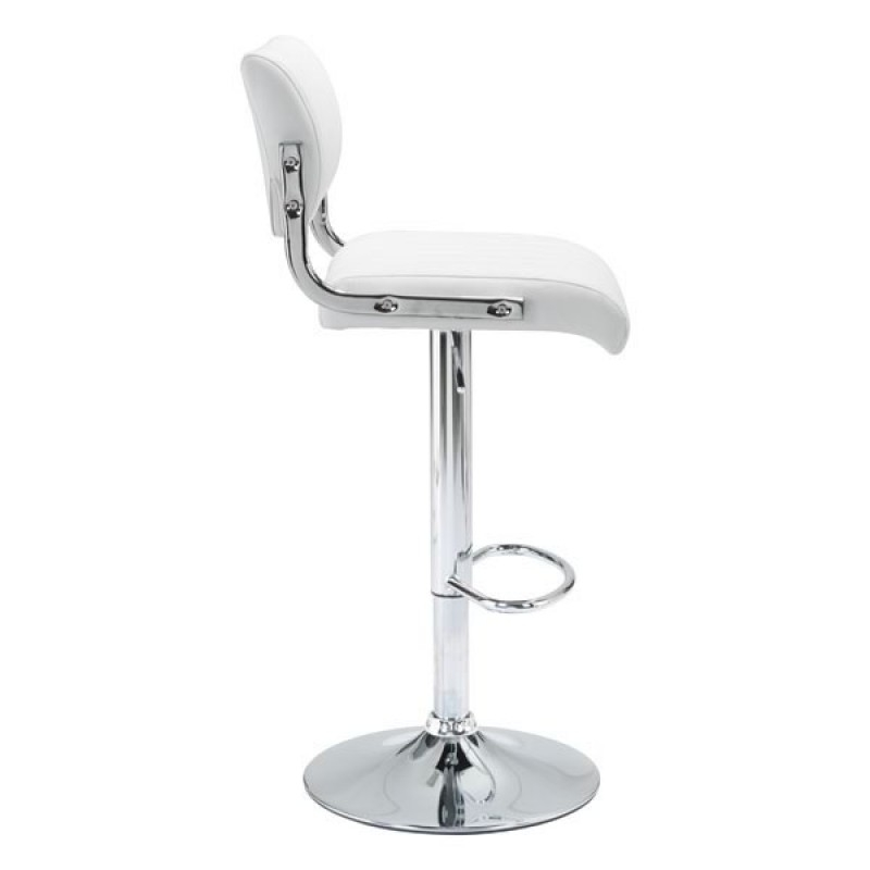 White or black bar stools with backs side view