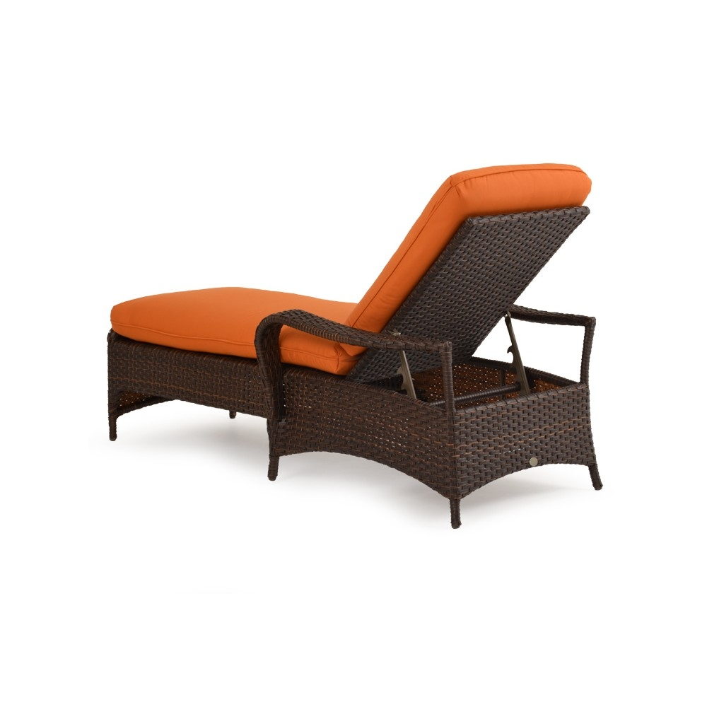 Wicker chaise lounge rear view